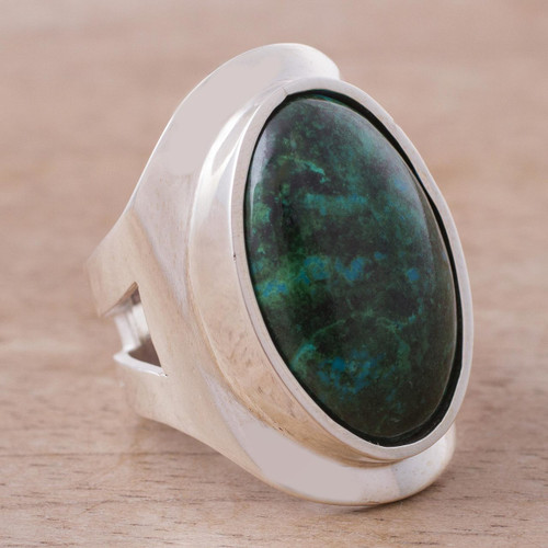 Sterling Silver Single Stone Chrysocolla Cocktail Ring 'Cradle of Peace'