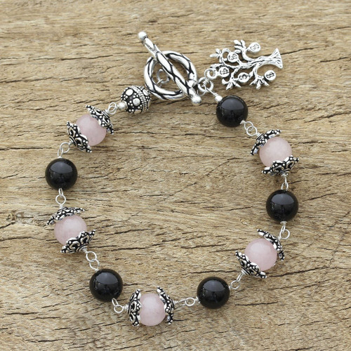 Sterling Silver Beaded Onyx and Rose Quartz Bracelet 'Lucky Money Tree'