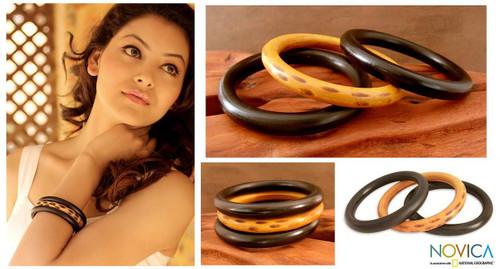 Natural Wood Bangle Bracelets (Set of 3) 'Exotic Delhi'