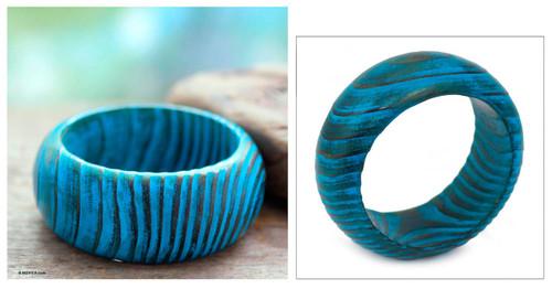 Wood bangle bracelet 'Ocean Empress'