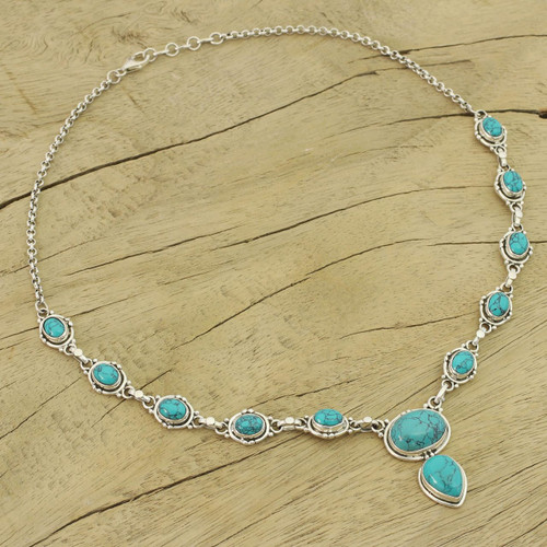 Sterling Silver Y-necklace from Blue Stone Jewelry 'Sky Dream'