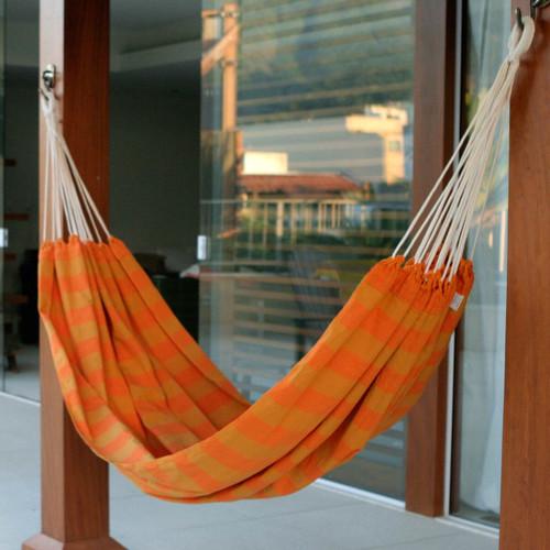 Handmade Brazilian Cotton Striped Fabric Hammock (Single) 'Ceara Sunshine'
