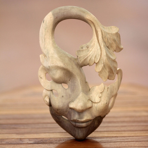 Unique Contemporary Wall Mask 'Shy Maiden'