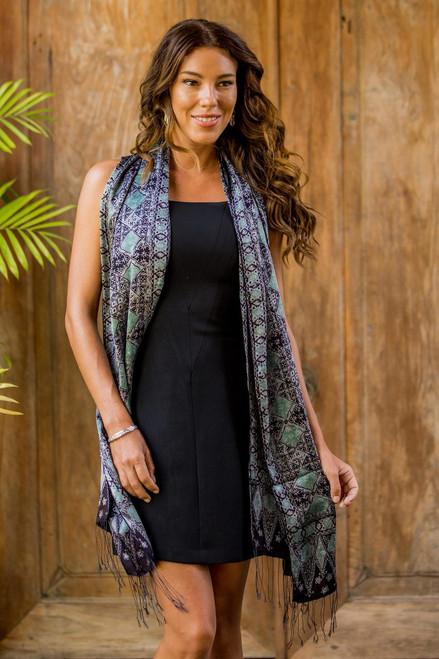 Batik Silk Shawl Handmade in Indonesia 'Blue Sarangan'