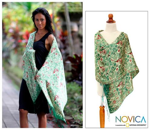 Handcrafted Indonesian Batik Silk Shawl 'Bogor Lady'