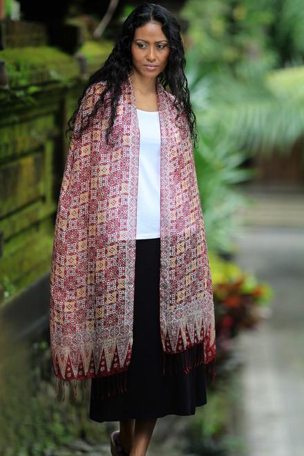 Hand Crafted Batik Silk Shawl 'Red Lotus Floral'