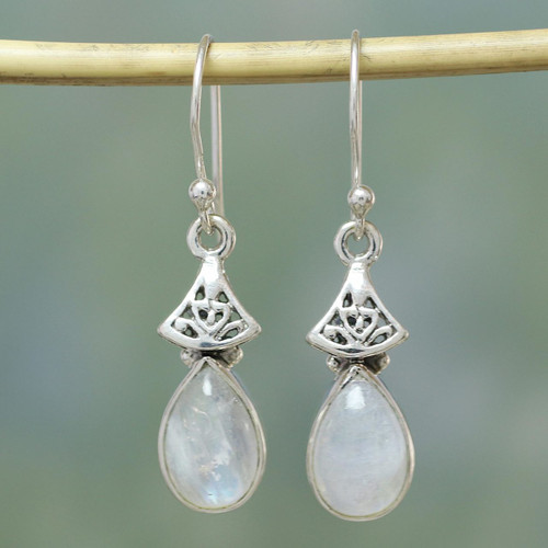 Moonstone Earrings in Sterling Silver from India 'Misty Morn'