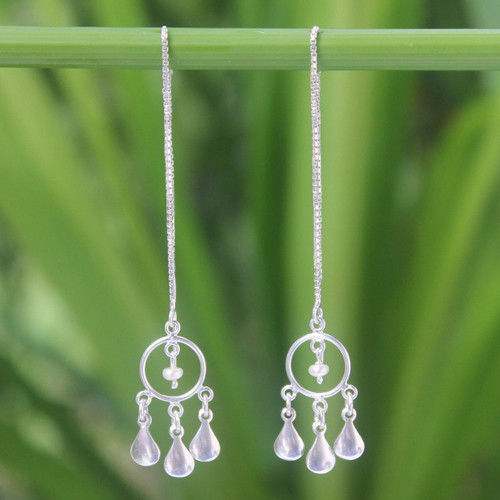 Pearl and Silver Threader Earrings 'Love Trio'