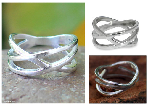 Handcrafted Modern Sterling Silver Band Ring 'Fervent Embrace'