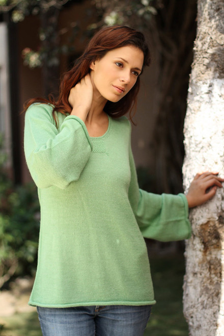 Women's Alpaca Wool Blend Pullover Sweater 'Mint Charisma'