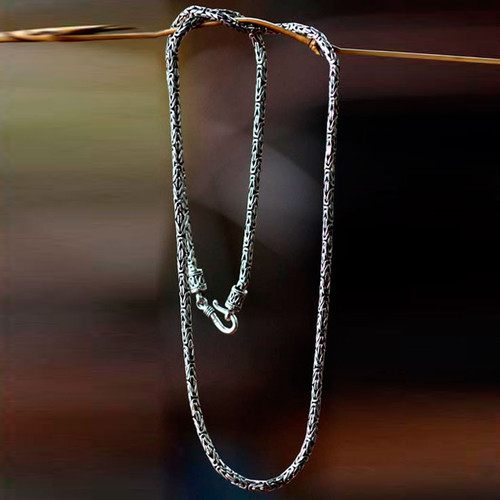 Sterling Silver Chain Necklace Handmade (30 Inch) 'Borobudur Collection II'