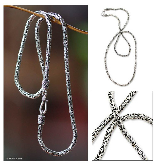 Indonesian Sterling Silver Chain Necklace (24 Inch) 'Borobudur Collection III'