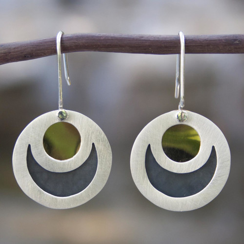 Taxco Silver Brass Accent Dangle Earrings from Mexico 'Maya Eclipse'