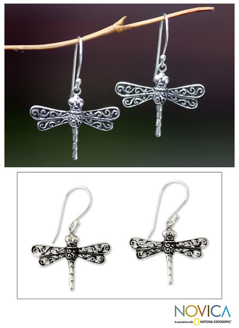 Artisan Crafted Sterling Silver Dangle Earrings 'Lucky Dragonflies'