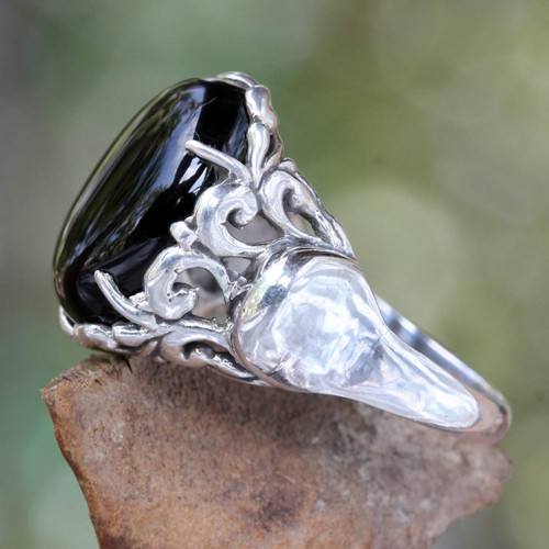 Handcrafted Sterling Silver and Onyx Ring 'Night Shadow'