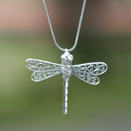 Unique Indonesian Sterling Silver Pendant Necklace 'Lucky Dragonfly'