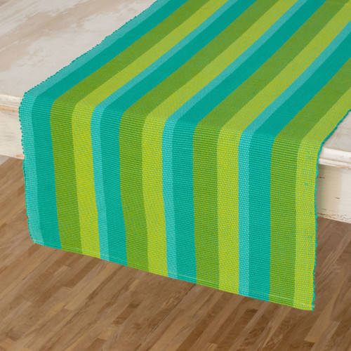 Hand Crafted Modern Cotton Table Runner  'Guatemala Spring'