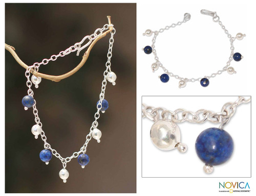 Lapis Lazuli And 925 Sterling Silver Charm Bracelet 'Blue Moons'