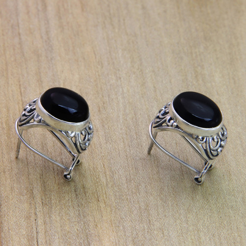 Handmade Sterling Silver and Onyx Earrings 'Midnight Bower'