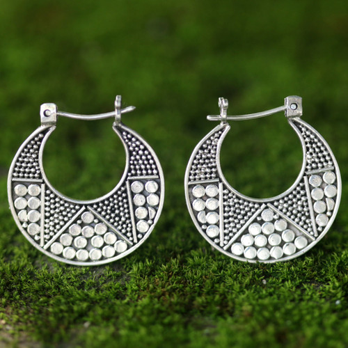 Hand Crafted Sterling Silver Hoop Earrings 'Crescent'