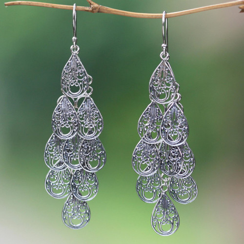 Fair Trade Women's Sterling Silver Filigree Earrings 'Infinite Finesse'