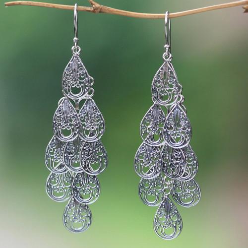 Fair Trade Women's Sterling Silver Filigree Earrings 'Infinite Finesse'