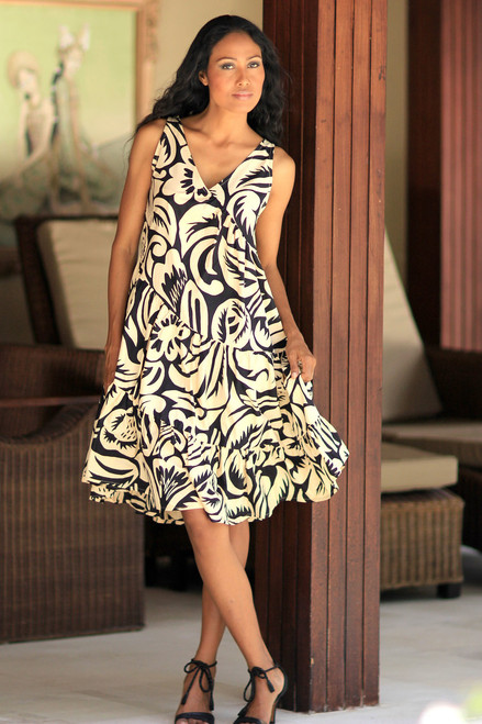 Batik Cotton Knee Length Dress in Pale Yellow 'Balinese Shadow'