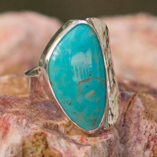 Unique Taxco Silver Cocktail Natural Turquoise Ring 'Taxco Moon'