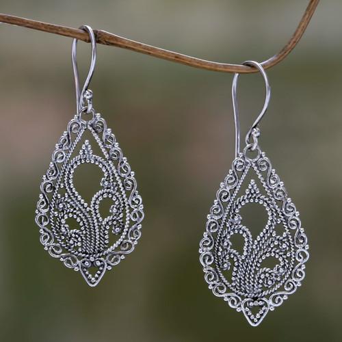 Handcrafted Floral Sterling Silver Dangle Earrings 'Fern Flowers'