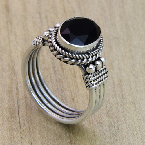 Sterling Silver and Onyx Ring 'Bali Glow'