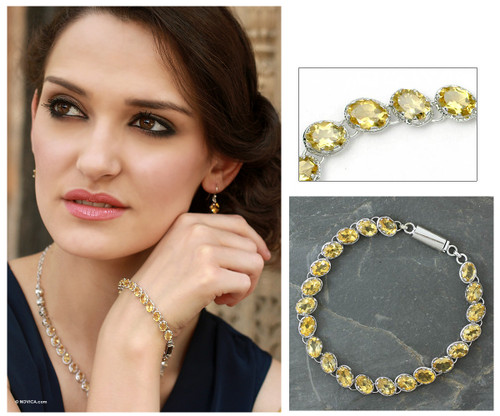 Sterling Silver Tennis Style Citrine Bracelet from India 'India Delight'