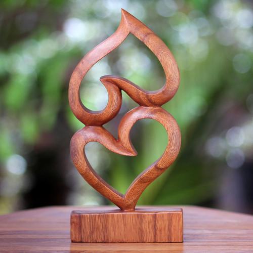 Suar Wood Heart Sculpture 'Upside Down Love'