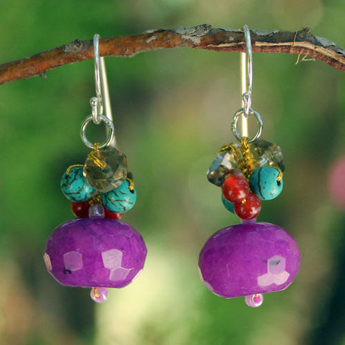 Fair Trade Beaded Quartz Earrings 'Chiang Rai Feast'