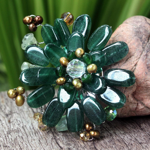 Hand Crafted Floral Quartz Brooch Pin 'Jungle Flowers'