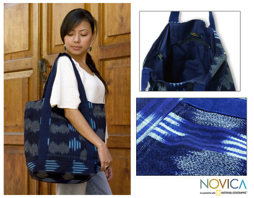 Hand Made Central American Cotton Tote Handbag 'Midnight Maya'