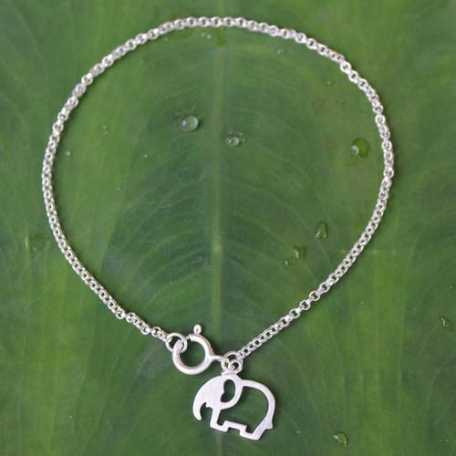 Unique Sterling Silver Elephant Charm Bracelet 'Moonlit Elephant'