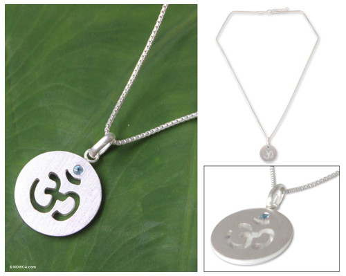 Blue topaz pendant necklace 'Spiritual Spark'