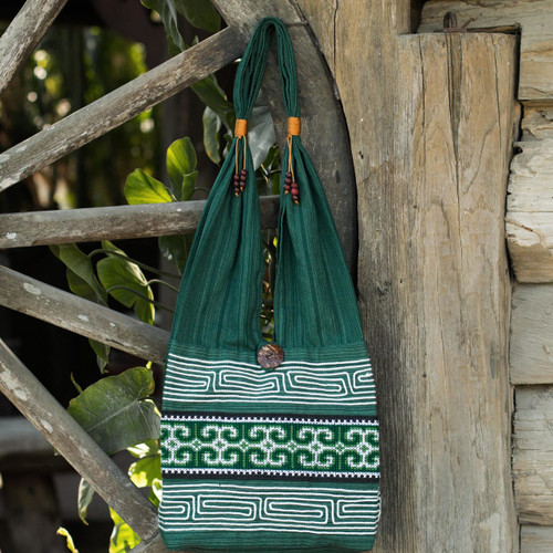 Green Embroidered Shoulder Bag from Thailand 'Lanna Forest'
