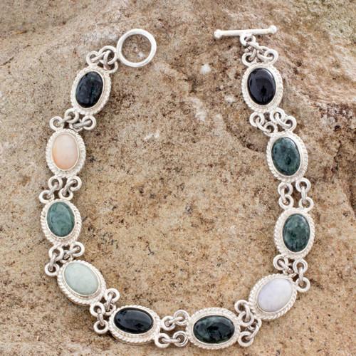 Handcrafted Sterling Silver Link Jade Bracelet 'Jocotenango Rainbow'