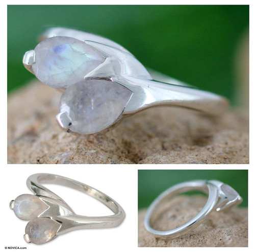 Moonstone and Sterling Silver Ring from India Modern Jewelry 'Rose of Passion'