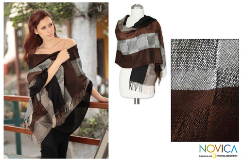 Handcrafted Women's Alpaca Wool Shawl 'Andean Cocoa'