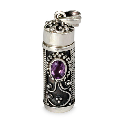 Sterling Silver Prayer Box Amethyst Pendant from India 'Hear My Prayer'