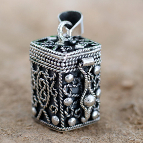 Square Locket Pendant Artisan Crafted Silver Jewelry 'Prayer Box'