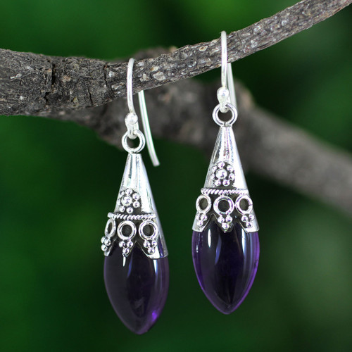 Sterling Silver and Amethyst Dangle Earrings 'Kerala Princess'