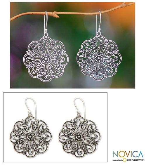 Floral Sterling Silver Dangle Earrings 'Gardenia Halo'
