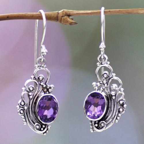 Women's Sterling Silver Dangle Amethyst Earrings 'Balinese Breezes'