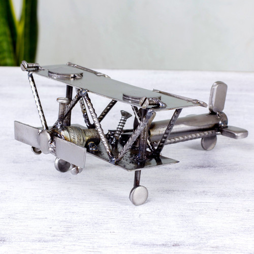 Hand Crafted Recycled Metal Rustic Mexico Sculpture 'Rustic Biplane'