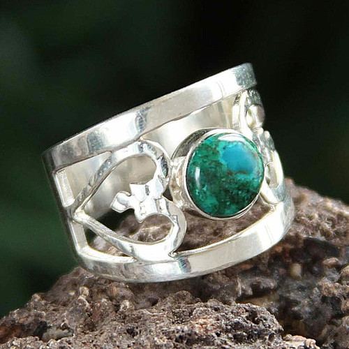 Unique Heart Shaped Sterling Silver Band Chrysocolla Ring 'Inseparable Love'