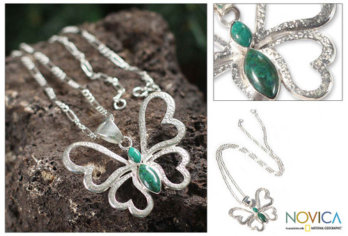 Heart Shaped Silver Chrysocolla Butterfly Pendant Necklace 'Love Butterfly'