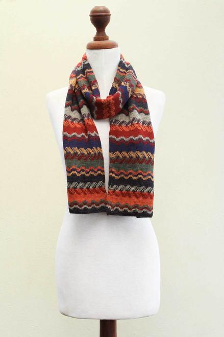 Alpaca Wool Striped Scarf 'Lavish Winter'